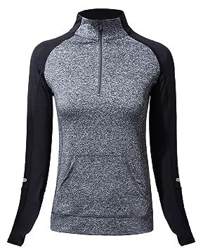 Win2free Damen Laufshirt Langarm Funktionsshirt mit Reißverschluss