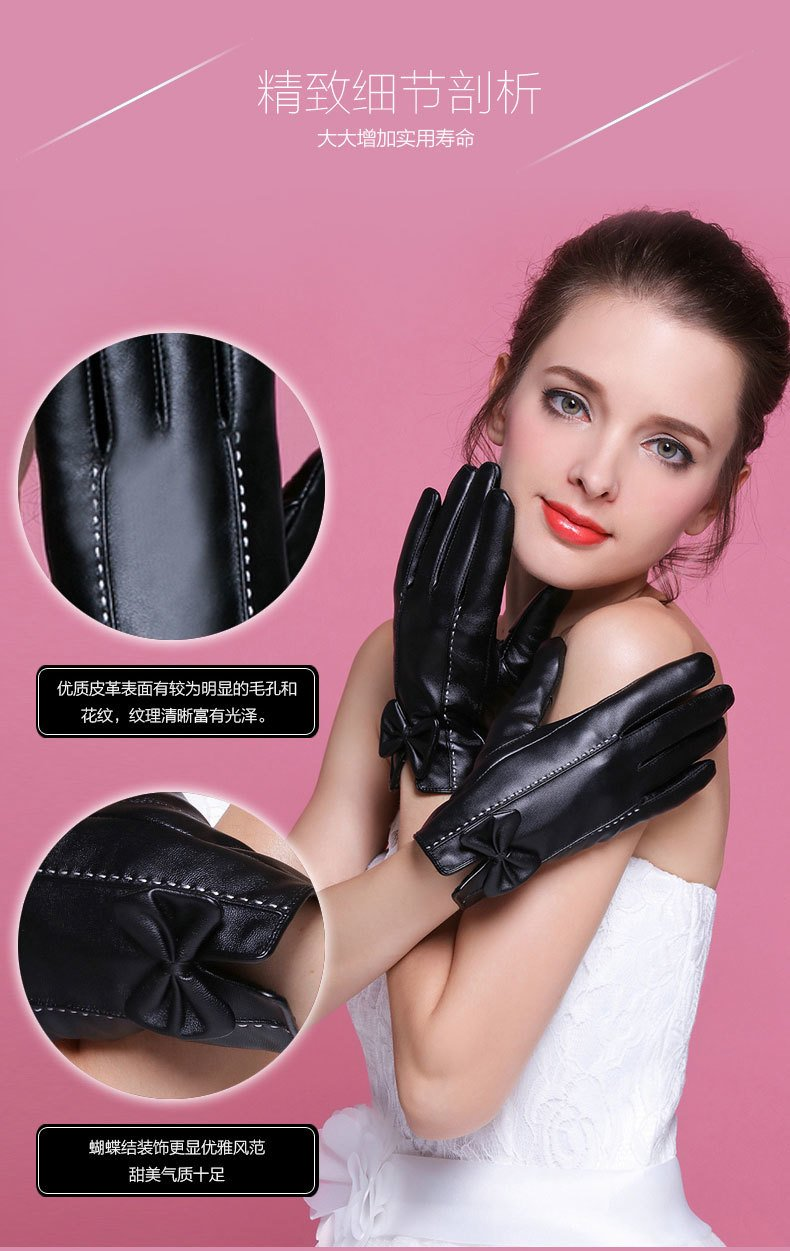 Generic touch_screen_ leather glove gloves women girls autumn winter _days_for cotton_thickening_plus_velvet_warm,_windproof_ short _ride_by_car