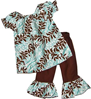 product image for Cheeky Banana Sweet Little Girls Hawaiian Top & Leggings Aqua/Brown
