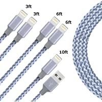 Lightning Charging Cable,Zotoyi iPhone Charger Cables 5Pack 3FT 3FT 6FT 6FT 10FT to USB Syncing Data and Nylon Braided Cord Charger Compatible iPhone X/8/8Plus/7/7Plus/6/6Plus/6s/6sPlus/5/5s/5c/SE and