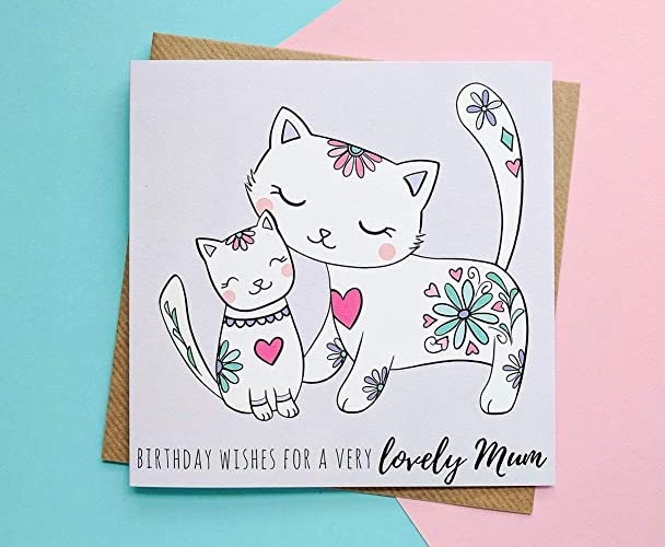 Mum Birthday Card Cute Cats Cards Amazoncouk Handmade