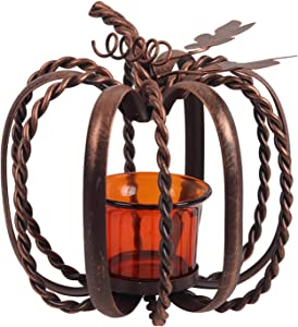 CALIDAKA Pumpkin Candle Holder,Wrought Iron Pumpkin Candle Holder for Copper Finish Fortea Light and Votive Flameless Candles,Halloween and Thanksgiving Decorating,Table Centerpiece