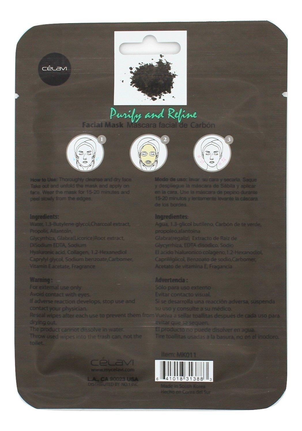 Amazon.com : Celavi Essence Facial Mask Paper Sheet Korea Skin Care Moisturizing 24 Pack (Charcoal) : Beauty