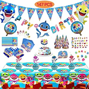 "Shark Party Supplies for Baby, 147 Pcs, Prizes, Toys, Ocean Party Decorations Theme Set - Includes Biodegradable Paper Plates, Napkins, Tablecloth, Cupcake Toppers, Large Cake Topper, Party Cone Hats, Whistles, 18"" Helium Balloons, 26"" Shark Character Helium Balloons, Baby Shark Birthday Banner, Baby Shark Pennant Banner, Invitation Cards, Gift Bags, Gift Party Favor Rings & Tattoos!"