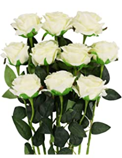 Amazon artificial flowers amyhomie silk roses bouquet home luyue artificial silk rose flower bouquet wedding party home decor pack of 10style mightylinksfo
