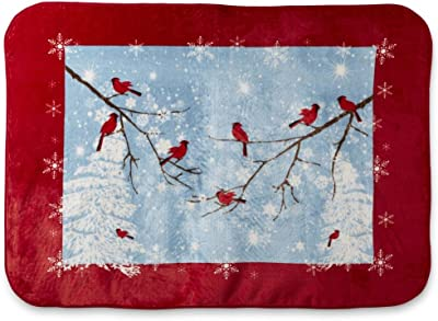 Shavel Large Plush Red Snow Birds Soft Fleece Throw Blanket Oversize Lounge Wrap Cover