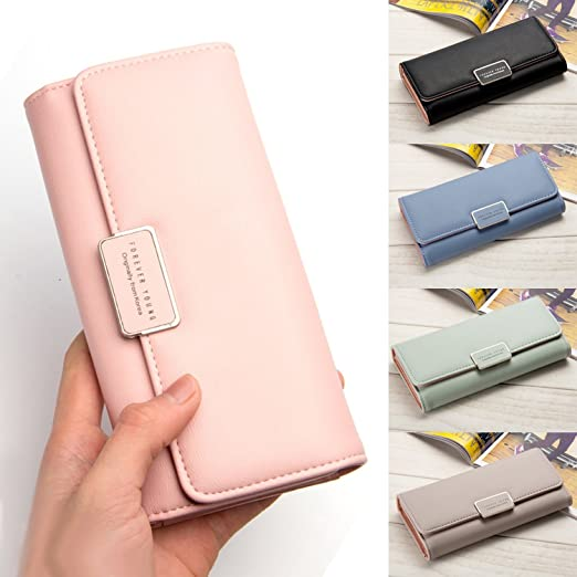 2018 Brand Latest Soft Leather Long Women Wallet Change Hasp Clasp Purse Clutch Money Phone Card Holder Female Wallets Carteras, Light Pink at Amazon ...