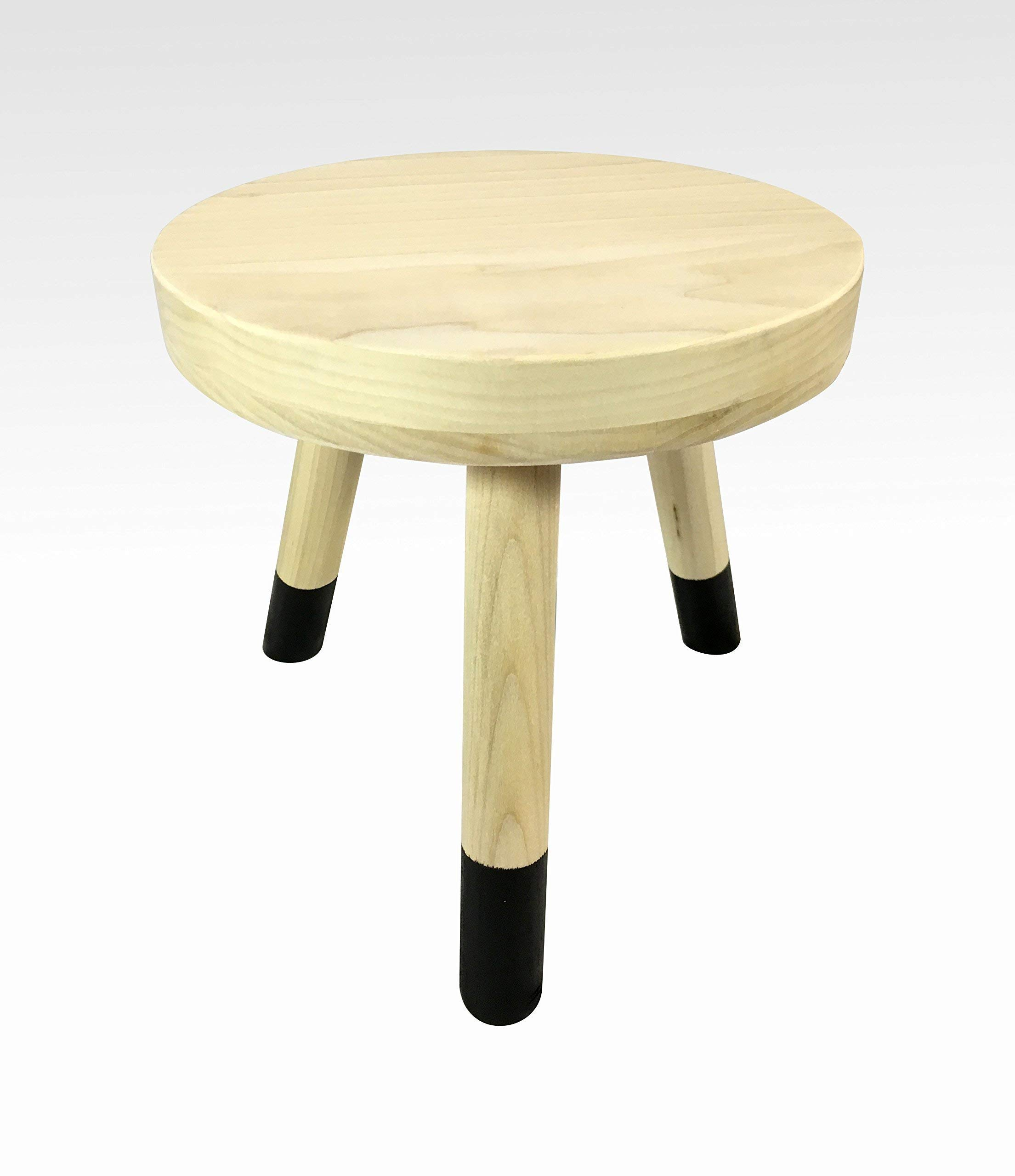 Modern Plant Stand Three Leg Stool by CW Furniture in Pale and Black Indoor Wood Flower Pot Base Display Holder Solid Wooden Kids Chair Table Simple Minimalist Small by Candlewood Furniture