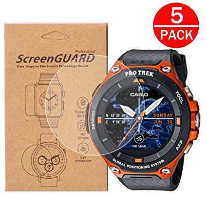 [5-Pack] for Casio WSD-F20 Watch Screen Protector, Full Coverage Screen Protector for Casio WSD-F20 Watch HD Clear Anti-Bubble and Anti-Scratch