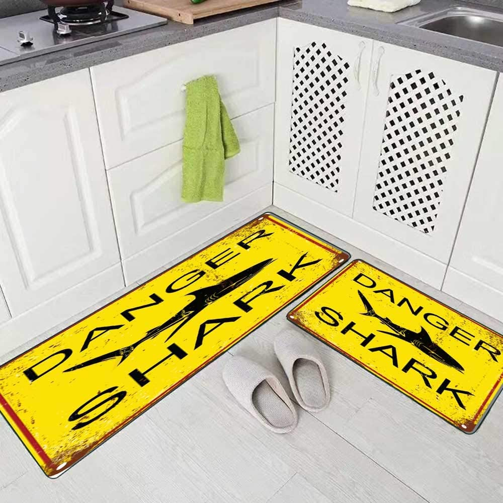 Doocilsh Kitchen Rugs,Kitchen Rugs Washable for Women and Men,17X48+17X24Inches The Square Black and Yellow Warning No Lifeguard on Duty Surf Your Own Sign Isolated White Background Shark Kitchen Rug