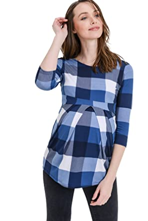 0008085368a0e LaClef Women's Round Neck 3/4 Sleeve Front Pleat Peplum Maternity Top (Blue  Plaid