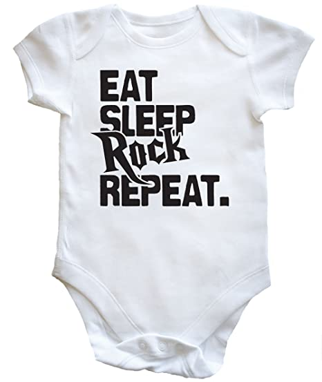 HippoWarehouse EAT SLEEP ROCK REPEAT body bodys pijama niños niñas unisex