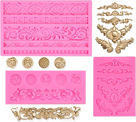 Baroque Scrolls 2 Cavity Silicone Mold for Fondant Crafts Chocolate Gum Paste