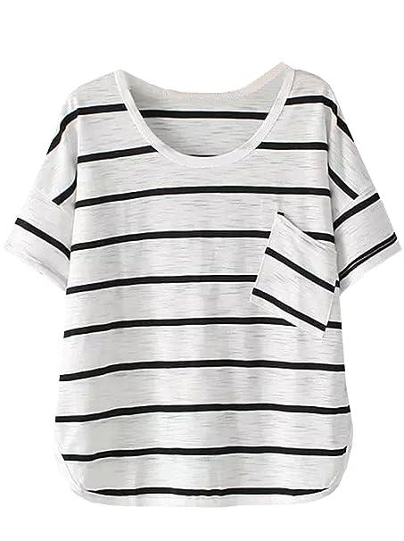 Shein Camiseta - Para Mujer Blanco Blanco Talla Única: Amazon.es: Ropa y accesorios