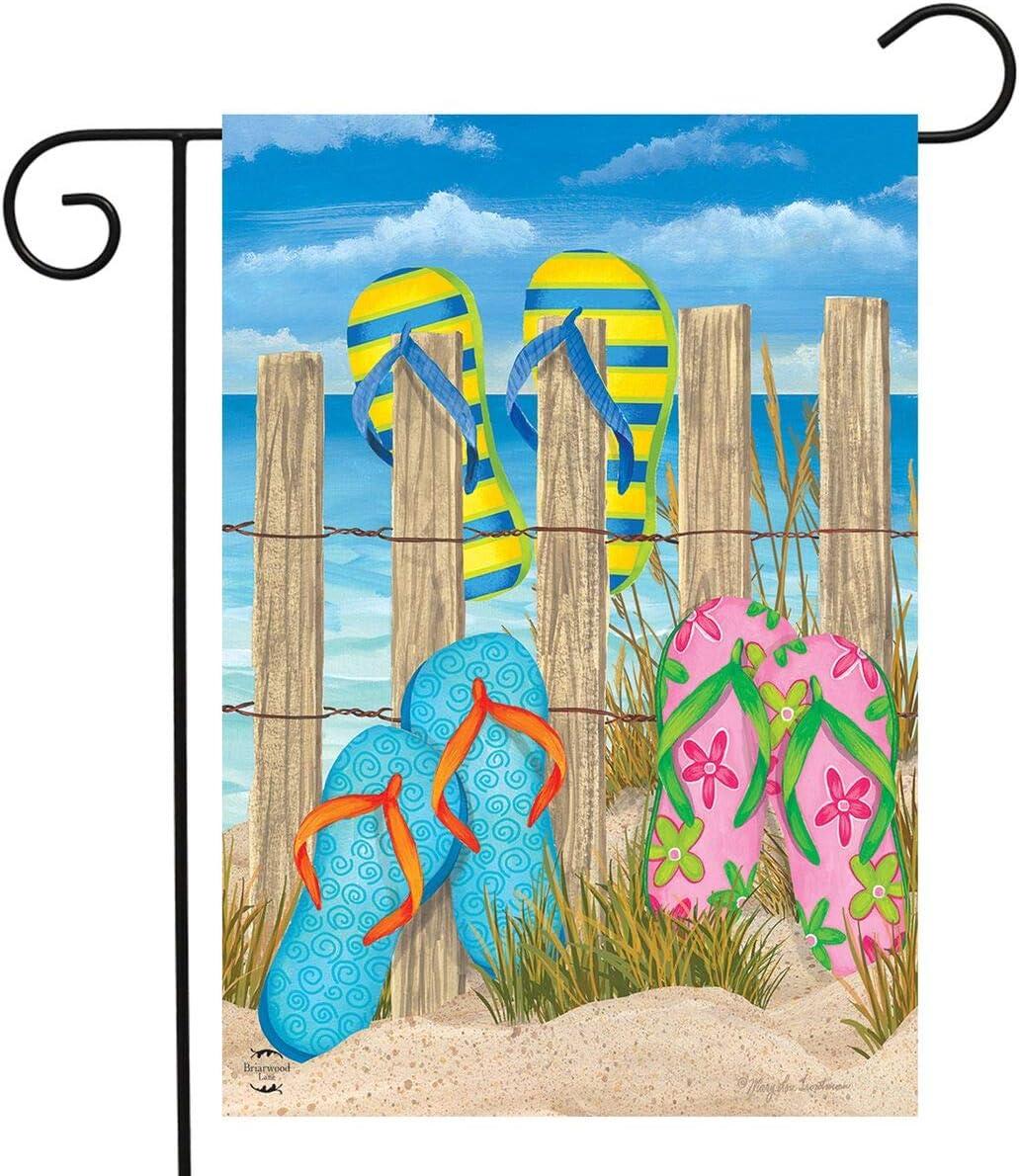 "Briarwood Lane Toes in The Sand Summer Garden Flag Flip Flops Fence 12.5"" x 18"""