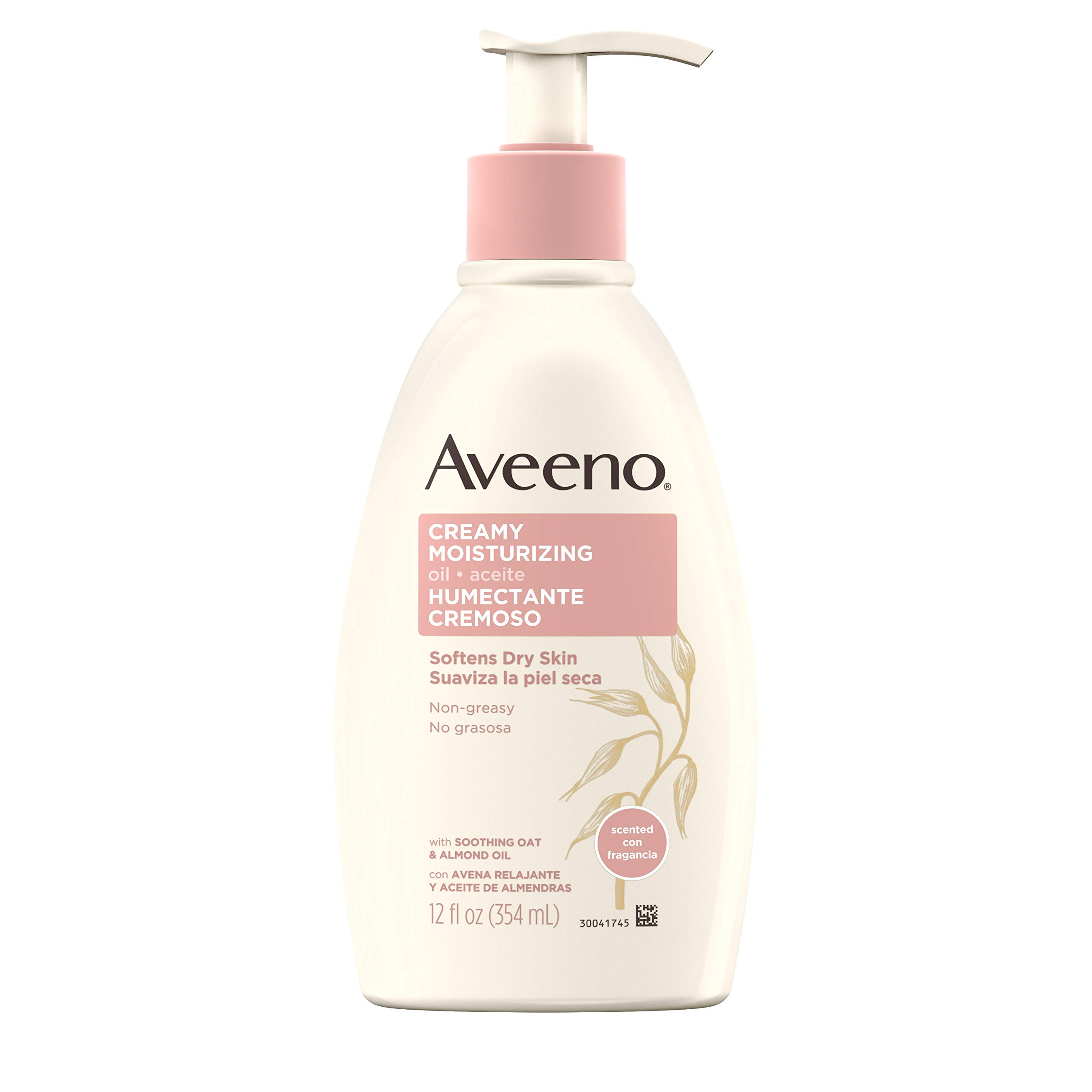 Aveeno Creamy Moisturizing Body Oil for Dry Skin with Soothing Oat, Sweet Almond & Sesame Oil, Non-Greasy Light Body Lotion with Light Fragrance, 12 fl. oz
