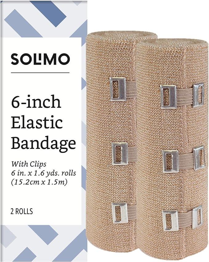 Amazon Com Amazon Brand Solimo Elastic Bandage With Clips 6 X