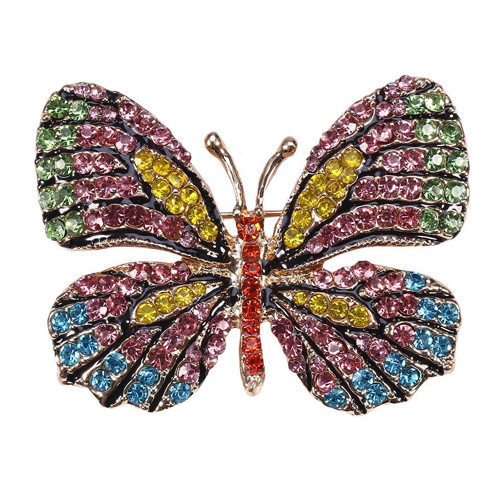 4 Colors Scarf Clothing Butterfly Women's Alloy Brooch with Rhinestone Charms Jewelry for Dress, 6 Brino