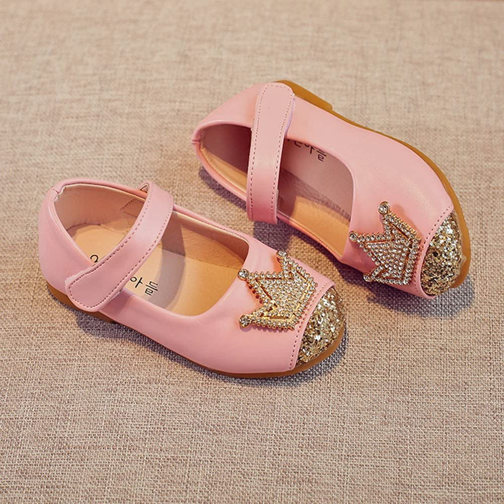 Seaintheson Baby Shoes Toddler Kids Girls Baby Beading Princess Crown Sandals Soft No-Slip First Walker Single Shoes