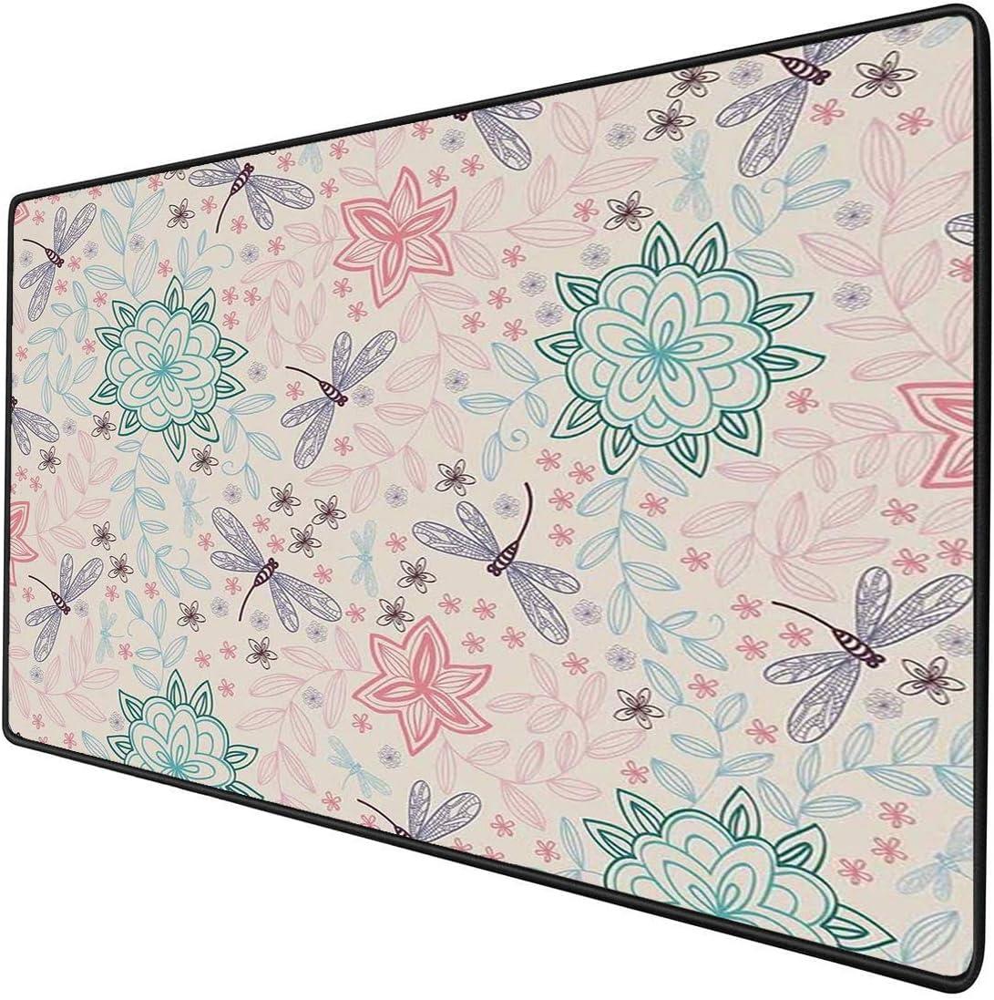 Mouse Pad Gaming Funcional Libélula Alfombrilla de ratón gruesa impermeable para escritorio La imagen de fondo rosa con flores étnicas bohemias deja pájaros voladores como insectos decorativos,multico