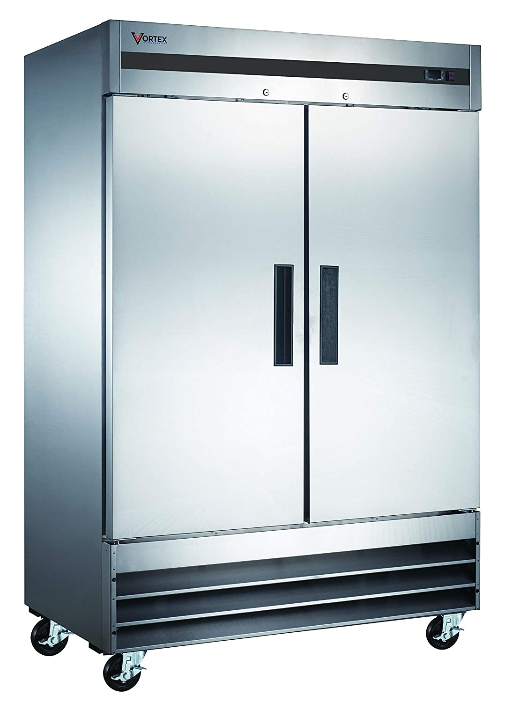 Vortex Refrigeration Commercial Heavy Duty 2 Solid Door Refrigerator - 47 Cu. Ft.