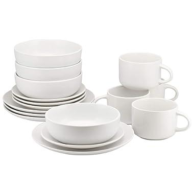 10 Strawberry Street WM-16-WHT Wazee Matte 16 Pc, White Dinnerware Set Service for 4
