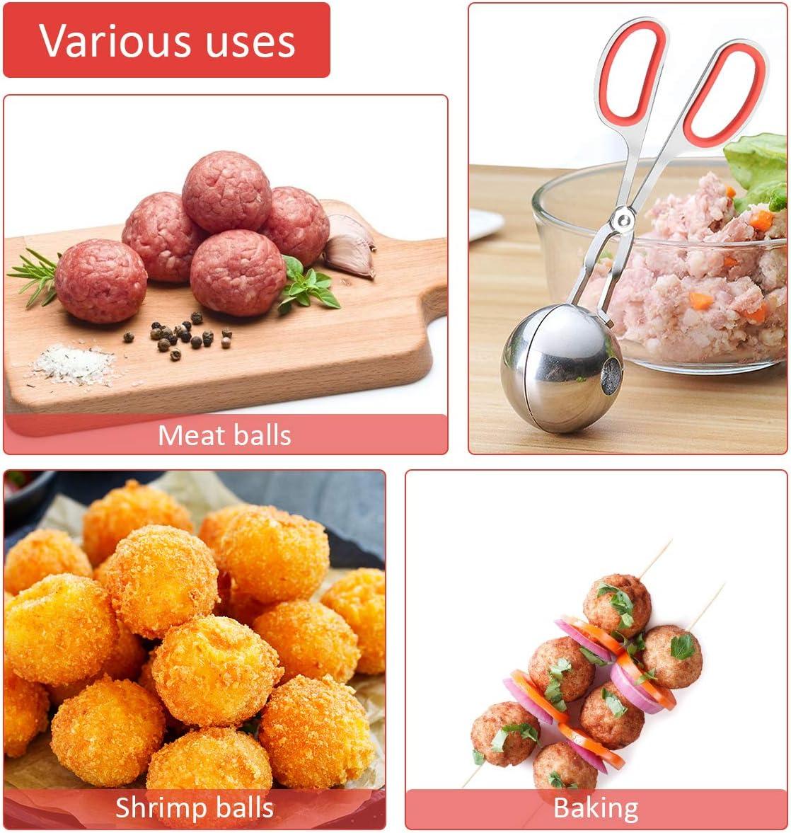 Different Size Stainless Steel Meat Baller scoop with Detachable Anti-Slip Handles 2PCS Meatball Maker Cake Pop Baller Ahier Meatball/Scoop/Ball/Maker