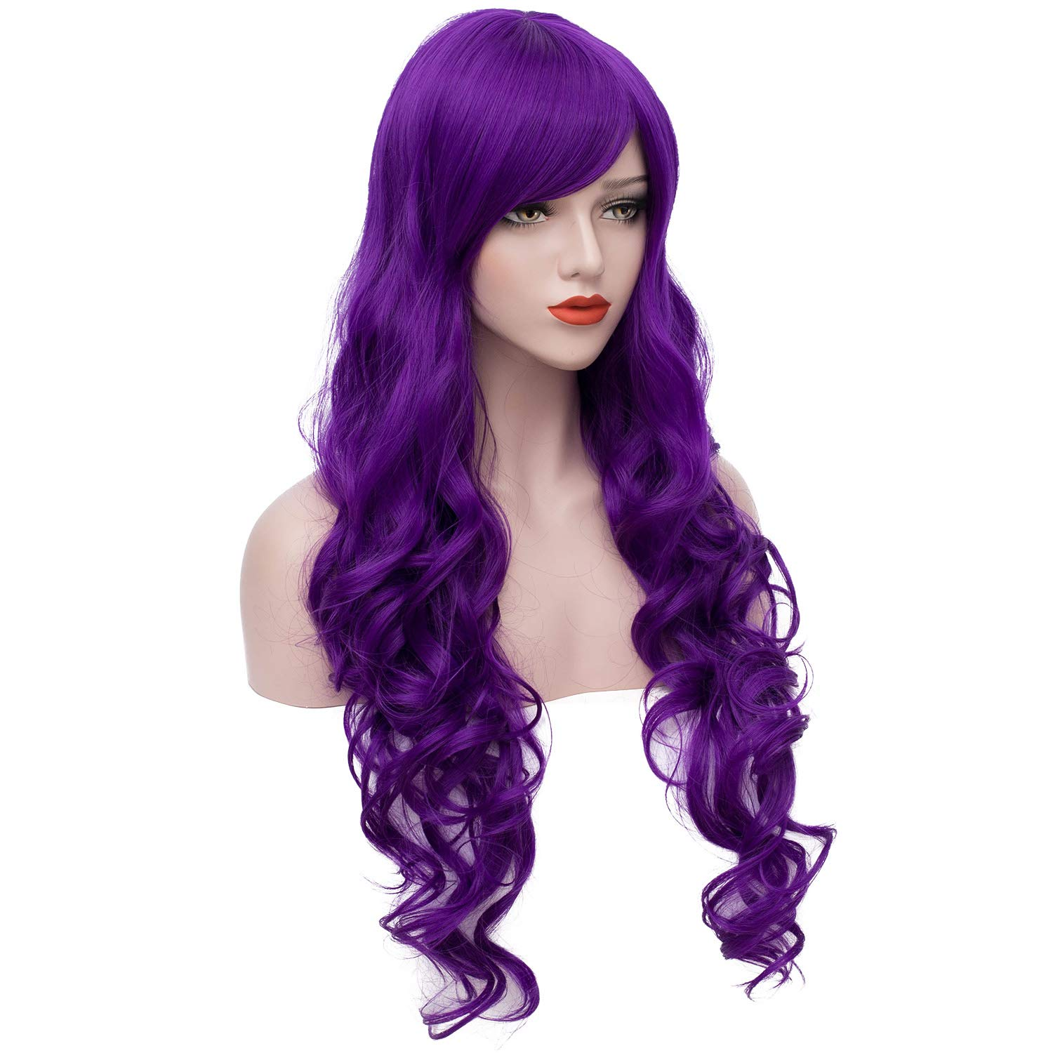 Blue Mixed Pink Upgrade Version Women Wigs Gradient Long Curly Hair Cosplay Party Costume Wig with A Hairnet BU040