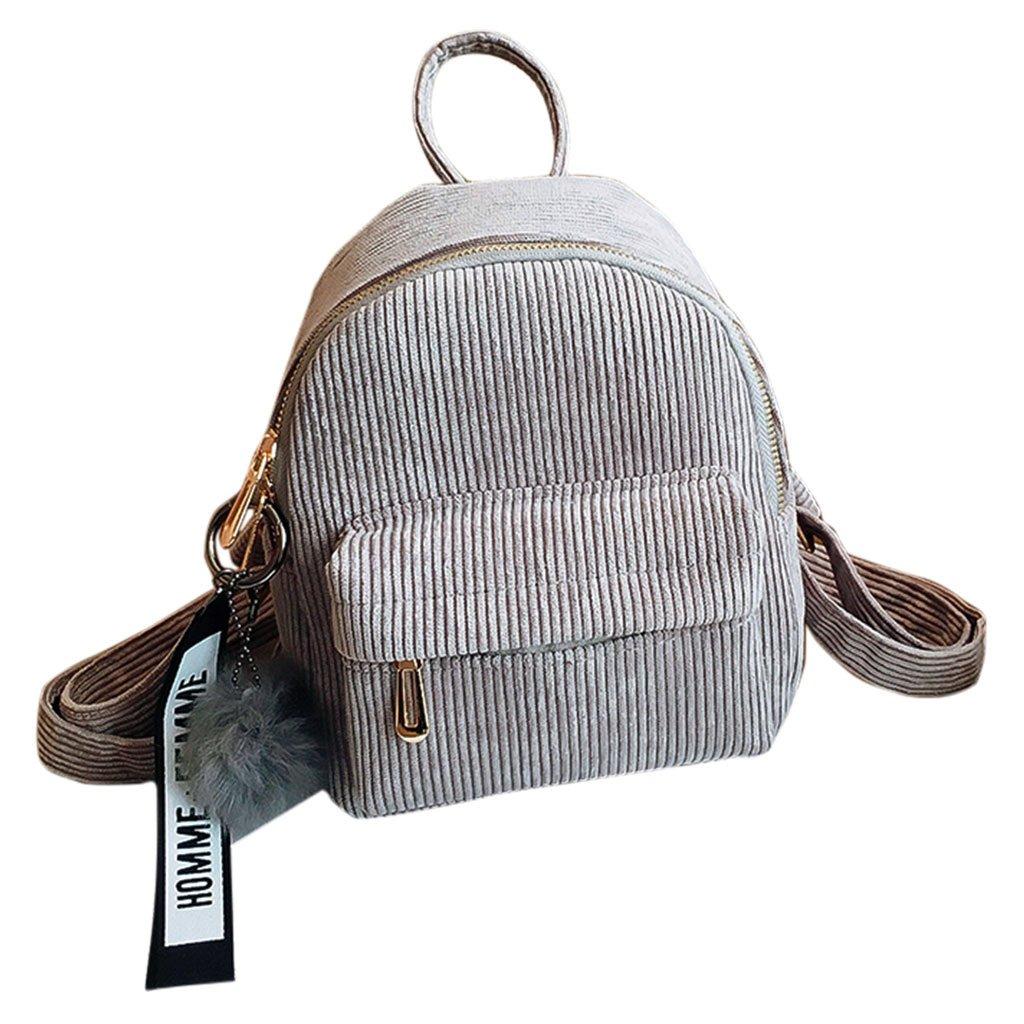 JAGENIE Women Corduroy Mini Backpack Girls School Bags Small Travel Handbag Shoulder Bag Light Gray