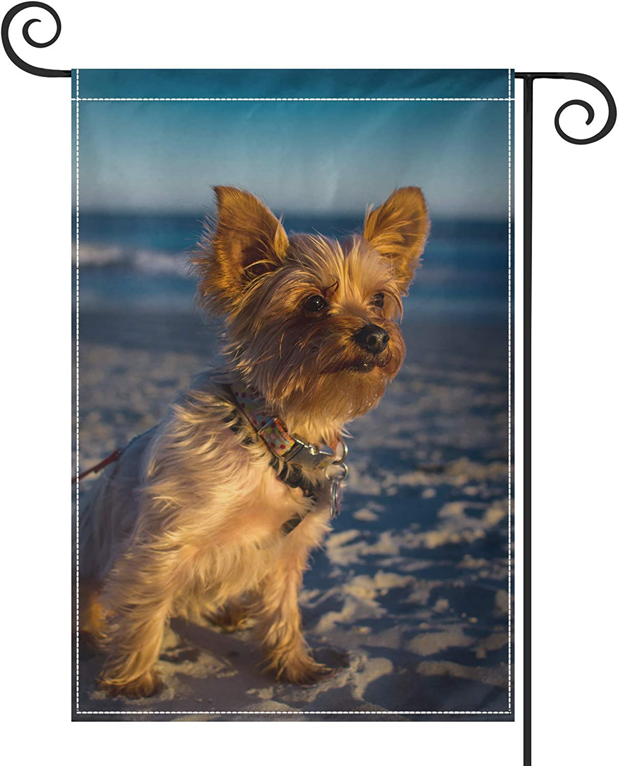 """PRUNUS Sunset Beautiful Yorkies Garden Flag, Vertical Double Sided Premium Material Holiday Weather Resistant Decorative Lawn Flags Outdoor Decor 28"""" x 40"""" Black"""