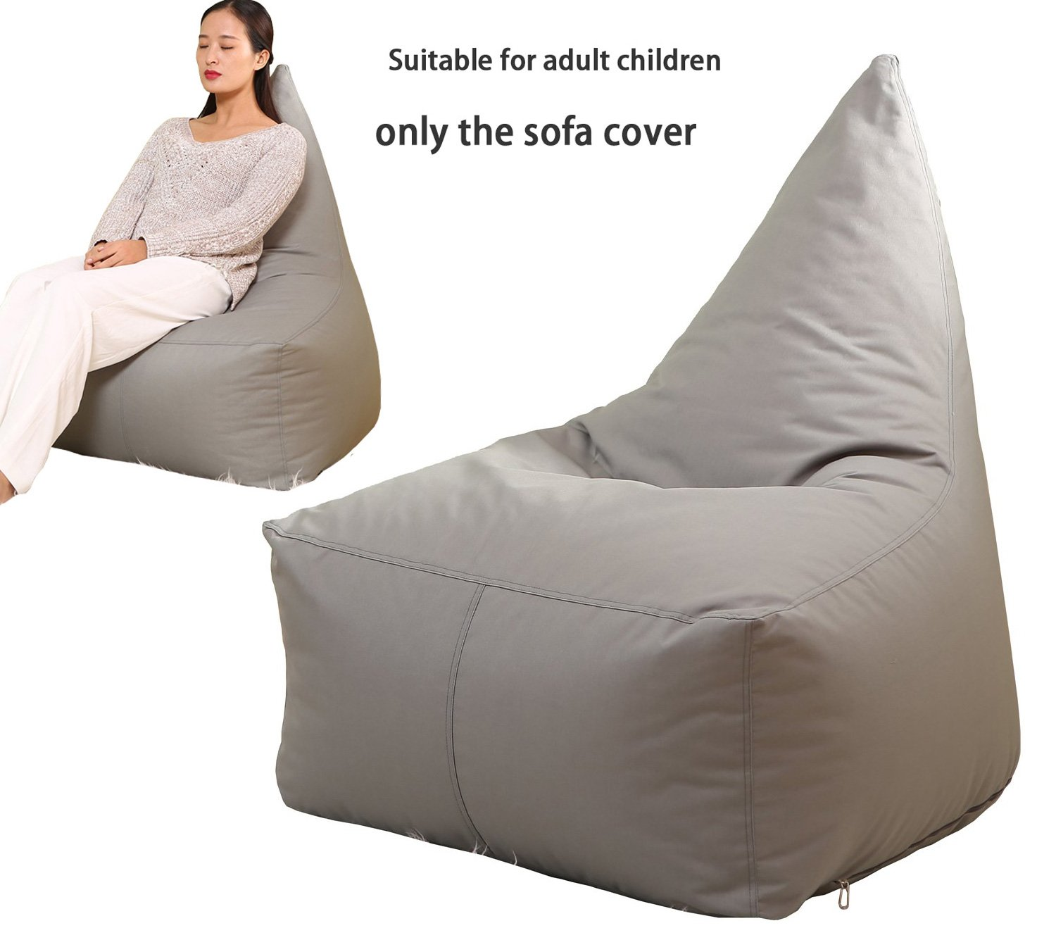 Quwei Bean Bags Chair Cover Triangel Creative Cartoon DIY Comfortable Mini Sofa Indoor/Outdoor Soft Floor Cushion Lazy Sofa (grey) by Quwei