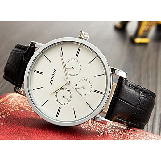 Amazon.com: SINOBI Leather Strap Men Watch, Sub-Dials Multifunction Stopwatch Men Chronograph Black reloj de pulsera: Watches