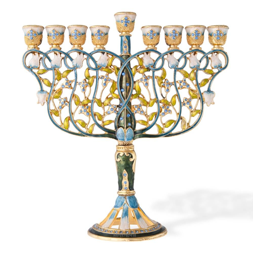 7.5'' Tall Hand Painted Menorah Candelabra Embellished with a Intertwining Flowers Design 24K Gold and Blue Crystals by Matashi by Matashi