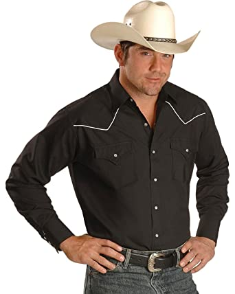 f5129656 ELY CATTLEMAN Long Sleeve Men's Solid Black with Contrast Piping Snap Western  Shirt at Amazon Men's Clothing store: