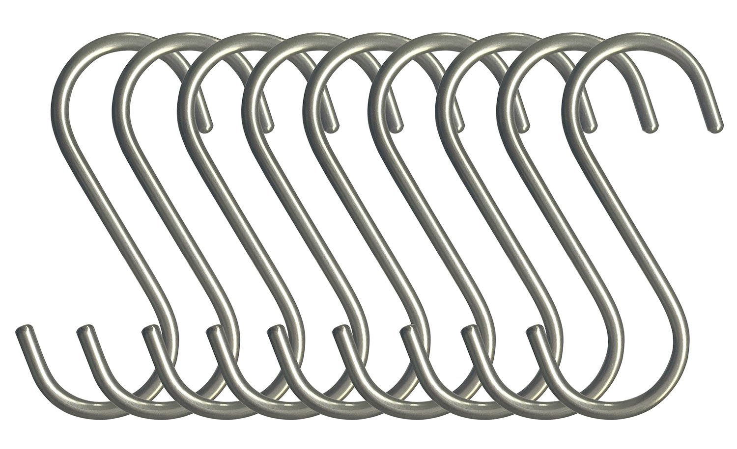 RuiLing 10-Pack S Shaped Hooks Heavy-Duty Genuine Solid Polished Stainless Steel Hanging Hooks,Kitchen Spoon Pot Hanging Hooks Hangers Clothes Storage Rack Multiple uses - Size Large