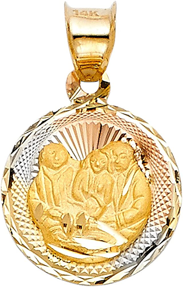 Million Charms 14k Tri-Color Gold Religious Small Baptism Stamp Charm Pendant Diamond-cut 15mm x 12mm 12mm Disc