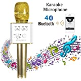 Microphone Bluetooth sans Fil, YFeel Q9 Portable Multi-fonction Sans fil Microphone Intelligent Bluetooth Handheld Mic Handheld Pour Apple iPhone iPad IOS Android Téléphone Intelligent PC avec Musique Lecture, Chant Anytime, Mini Home KTV Karaoke
