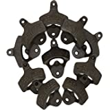 """Set of 10 """"Open∣Here"""" Wall Mounted Bottle Openers - EyreLife Cast Iron Beer Cap Opener Vintage Look Replica Rustic Restaurant & Vintage Iron Home Decor for Home Bartender, DIY Project"""