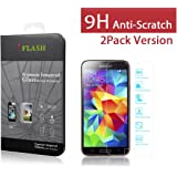 iFlash® 2 Pack of Premium Tempered Glass Screen Protector For Samsung Galaxy S5 / i9700- Protect Your Screen from Scratches and Bubble Free - Maximize Your Resale Value - 99.99% Clarity and Touchscreen Accuracy (2Pack, Retail Package)