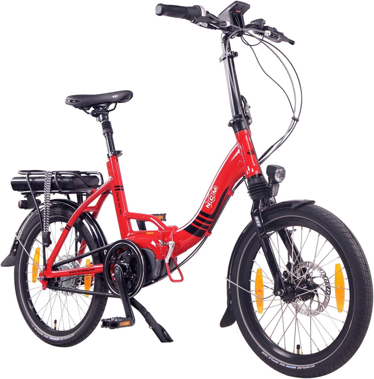 """NCM Paris MAX N8R Bicicleta eléctrica Plegable, 250W, Batería 36V 14Ah 504Wh, 20"""" (Rojo): Amazon.es: Deportes y aire libre"""