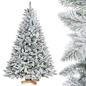 FairyTrees Árbol de Navidad Artificial Artificial Picea, Flocado con Copos DE Nieve, el Tronco Verde, Material PVC, Soporte de Madera, 180cm, ...