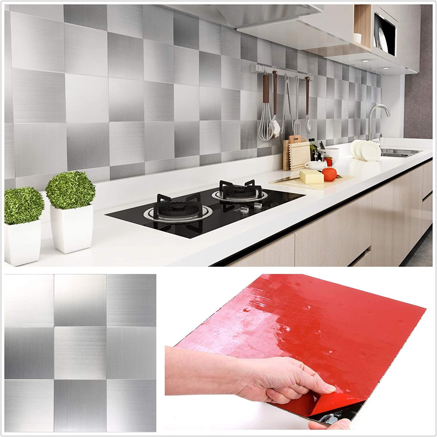 Amazon Com Homeymosaic Peel And Stick Tile Backsplash Stainless Steel Stick On Tiles For Kitchen Wall Decor Aluminum Surface Metal Tile Silver Square Plaid 12 X12 X 5 Sheets Home Improvement
