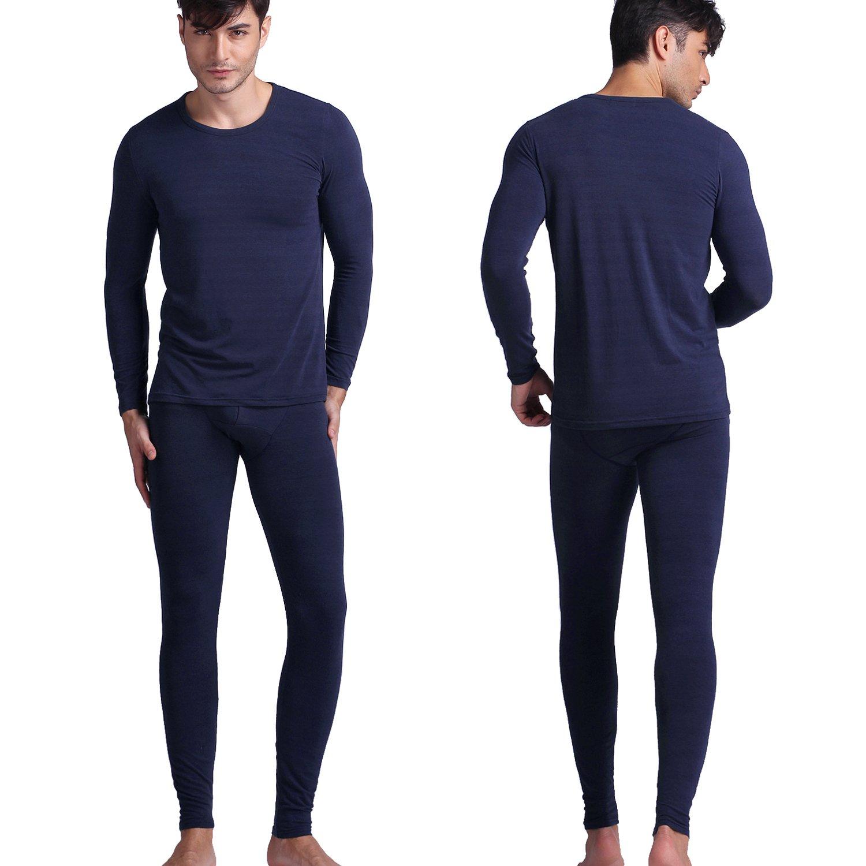 D&P Men's 2 Piece Cozy Thermal Underwear Long Johns Top And Bottom Set (L, Royal Blue)