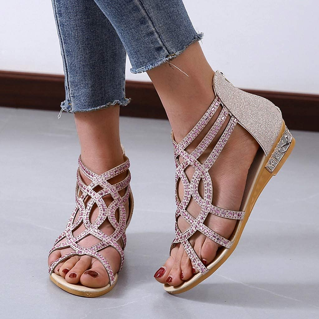 Kinrui Womens Strappy Rhinestone Dress Sandal Low Heel Wedge Open Toe Flat Shoes