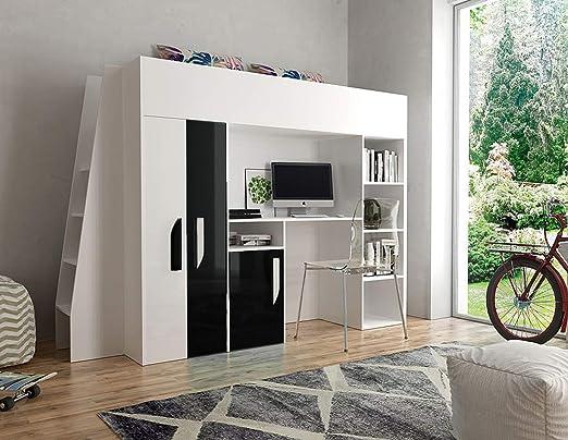 Furnistad habitación de los Niños Completo Delta | Niños Cama Alta con Escalera, Armario y Mesa de Escritorio: Amazon.es: Juguetes y juegos