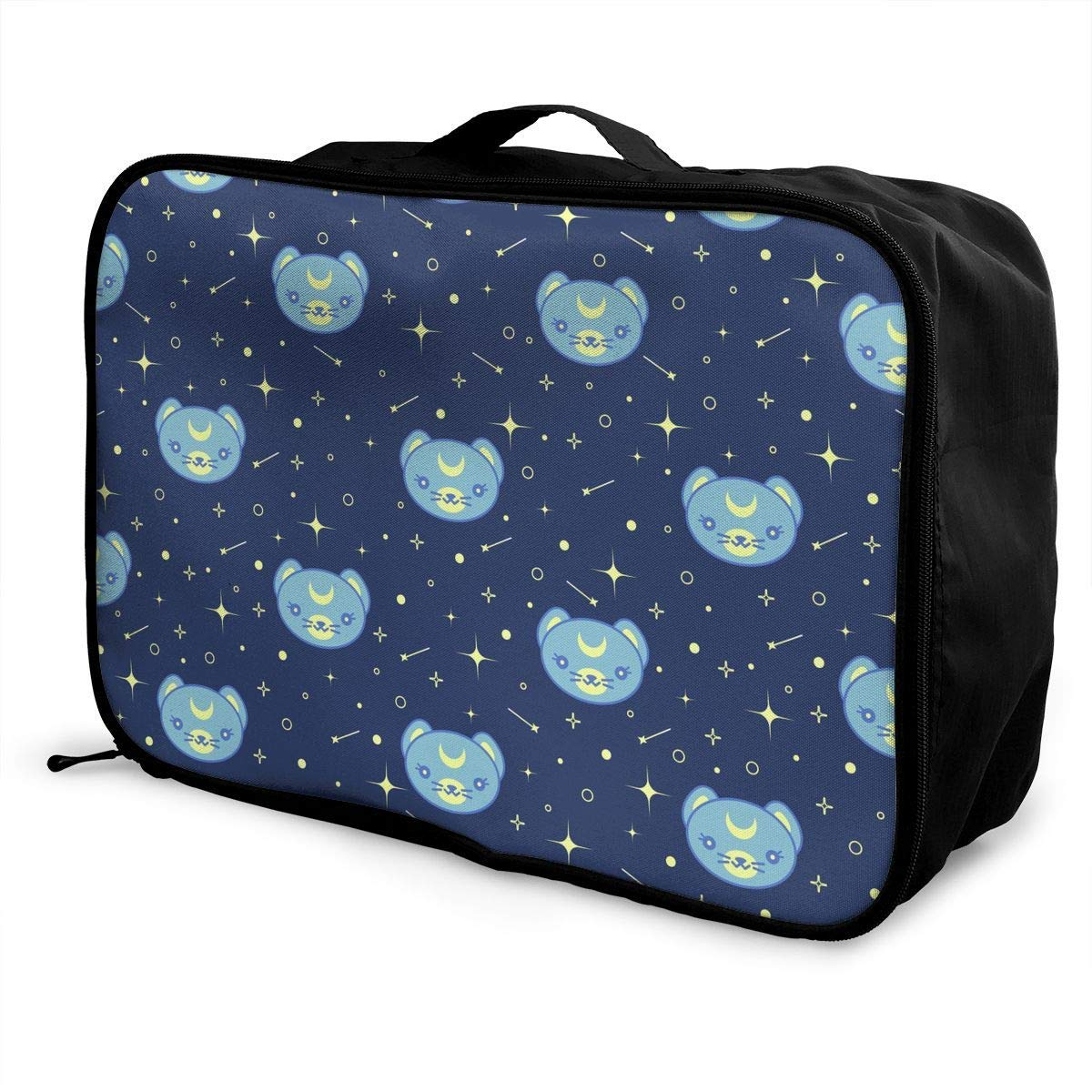 Blue Space Cat Galaxy Pattern JTRVW Travel Luggage Trolley Bag Portable Lightweight Suitcases Duffle Tote Bag Handbag