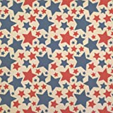 Patriotic Red and Blue Stars are Shining Kraft Present Gift Wrap Wrapping Paper