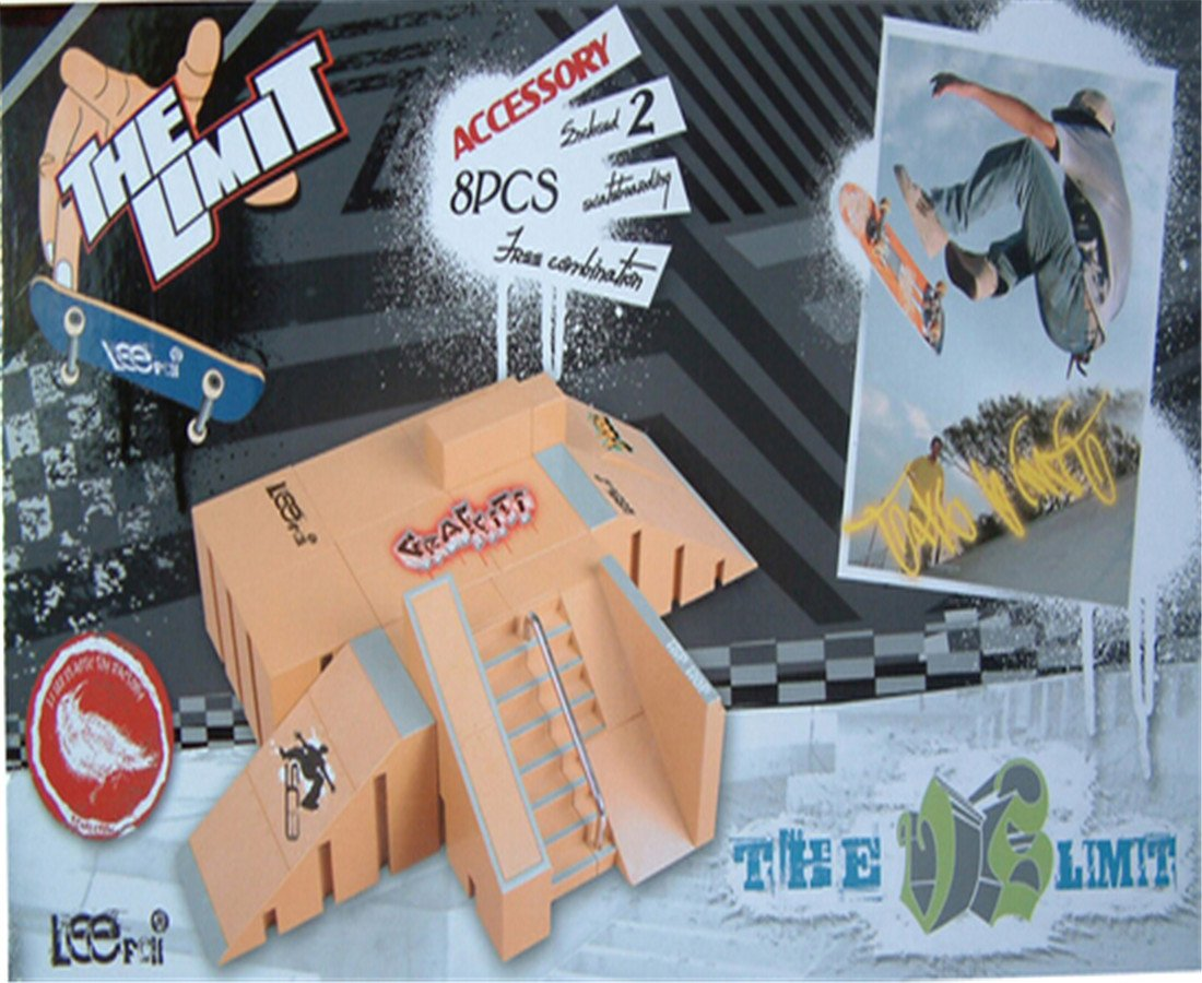 SBEGO Skatepark Suit with Exclusive Board & Rail for Fingerboard Pattern C by Rmeehi
