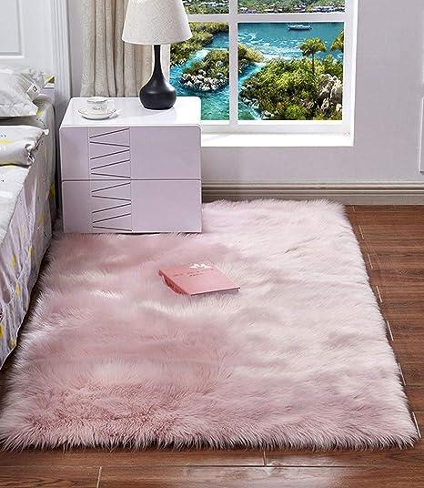 Hazelsha Alfombra de Pelo sintético, Lavable y esponjosa, Antideslizante, Ideal para el hogar, Dormitorio, Sala de Estar, Piel sintética, Rosa, 60x120cm: Amazon.es: Hogar