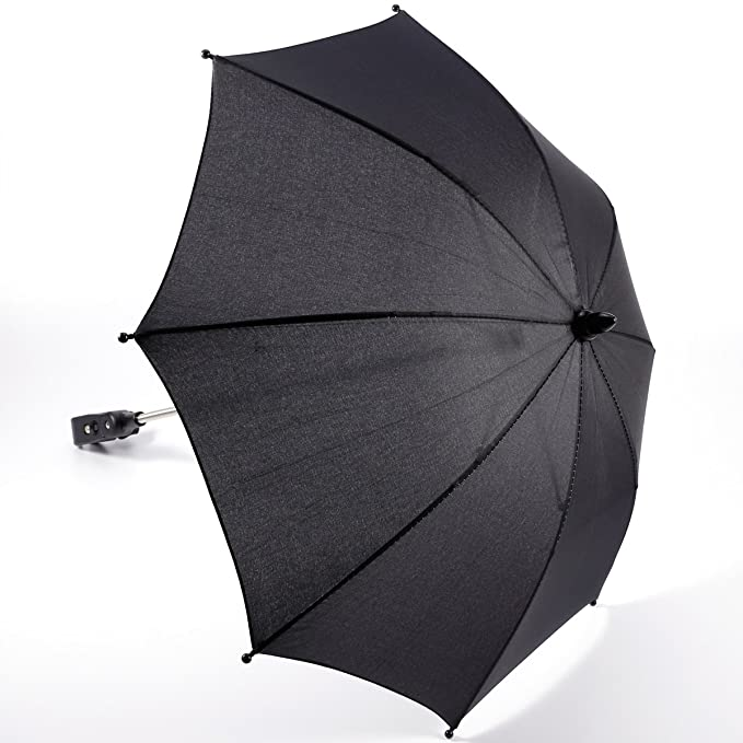 Paragua Sombrilla Parasol Negra para Carrito de Bebé Bicicleta con Pinza Protección de Sol Lluvia Manos Libres: Amazon.es: Bebé